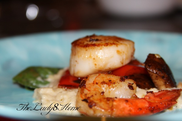 scallops with basil infused pear puree