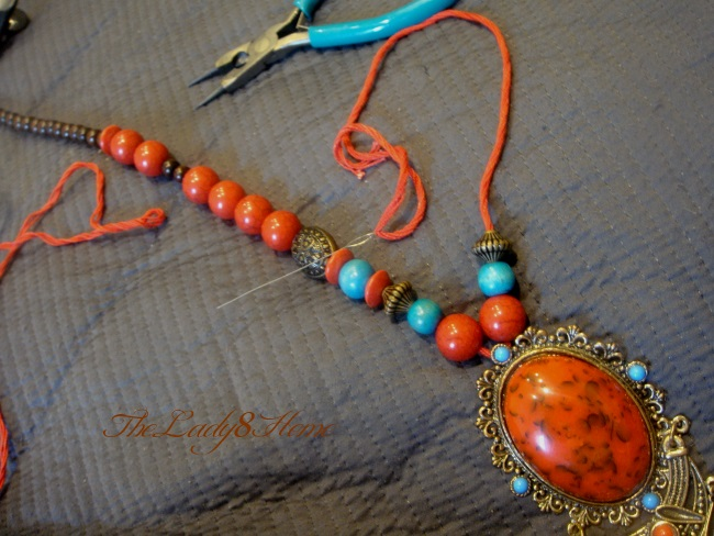 Keep stringing gently till all beads are in.