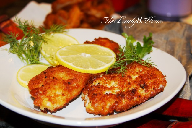Beer battered fish fillet seasoned with turmeric and rolled in panko  crumbs