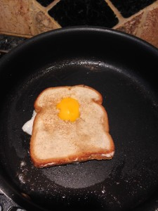 place the unfried side over the egg