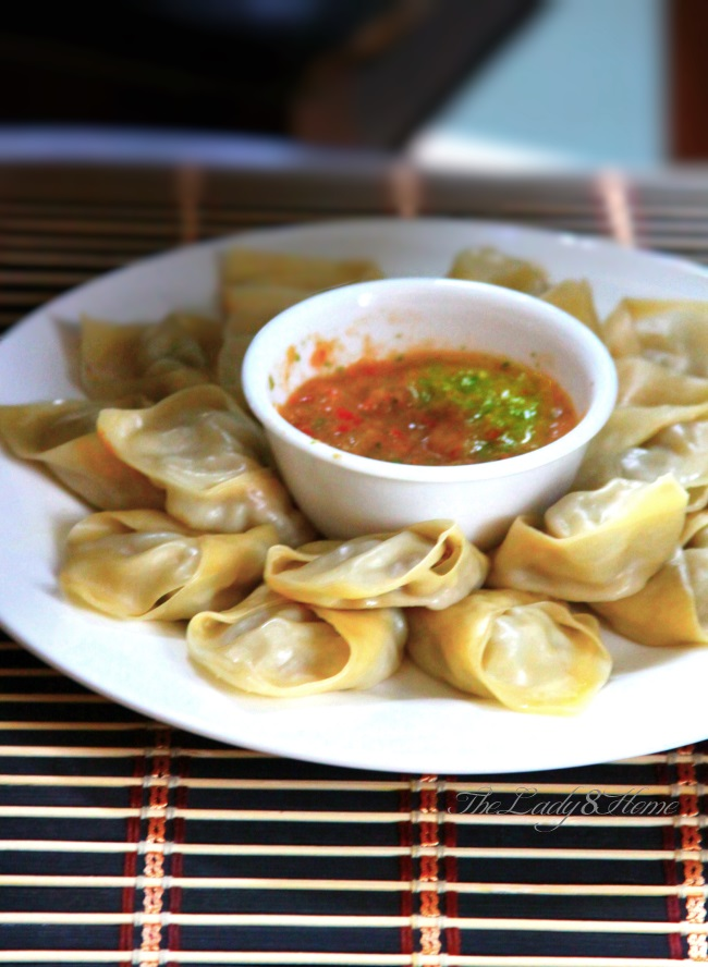 Momo Nepali Style Steamed Dumplings With Hot Tomato Chili Sauce The Lady 8 Home